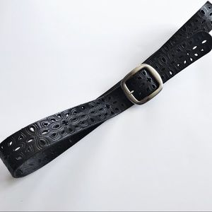 Fossil - Black Laser Cut Leather Belt